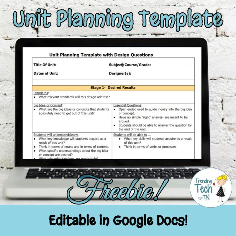 Unit Planning Template - FREEBIE and editable in Google Docs!