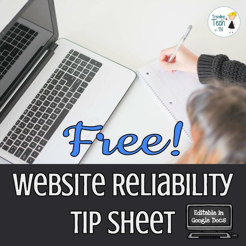 Website reliability tip sheet for students - editable in Google Docs! #freebie #gafe #edtech #researchtips #iteach6th #teachers